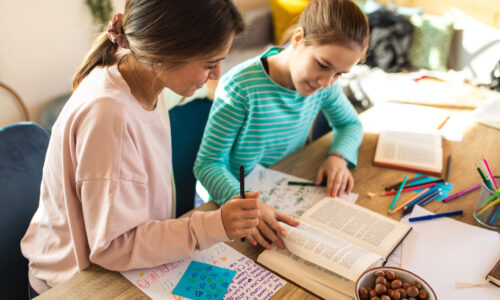 Cheerful Lady teacher helping to teenage girl during supplementary education at private school
